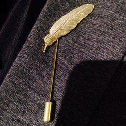 Stylish Leaf Shape Design Brooch - GOLDEN