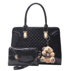 Sweet Bear Pendant and Embossing Design Women's Tote Bag - BLACK