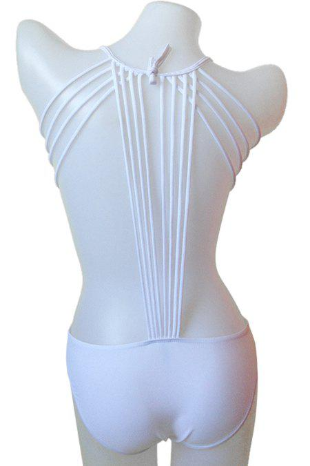 Mode Tie-Up Solid Color One-Piece Maillots de bain pour les femmes Blanc S