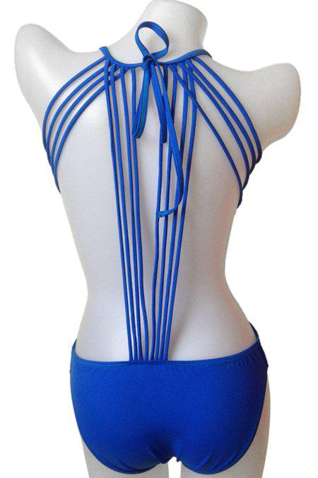 New Fashionable Tie-Up Solid Color One-Piece Swimwear For Women