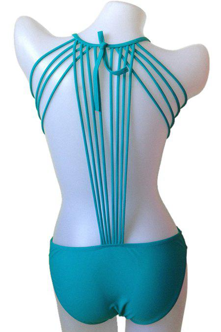 Fancy Fashionable Tie-Up Solid Color One-Piece Swimwear For Women