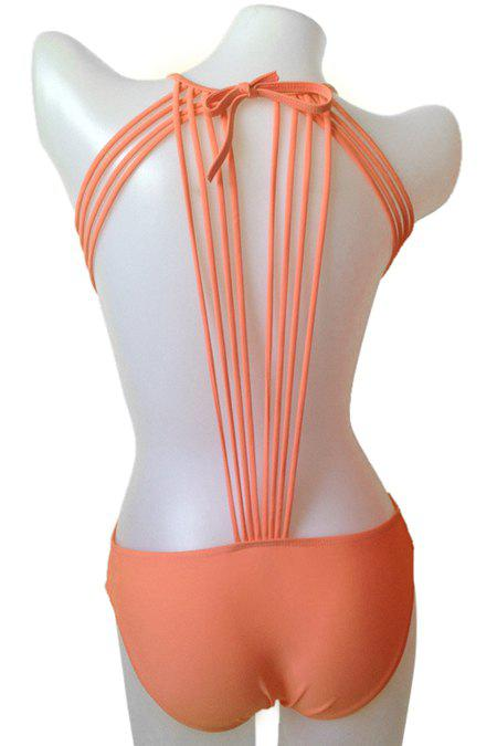 Outfits Fashionable Tie-Up Solid Color One-Piece Swimwear For Women