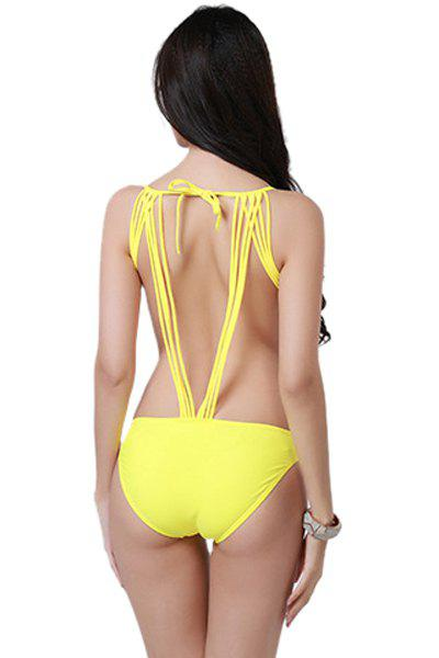 Shop Fashionable Tie-Up Solid Color One-Piece Swimwear For Women