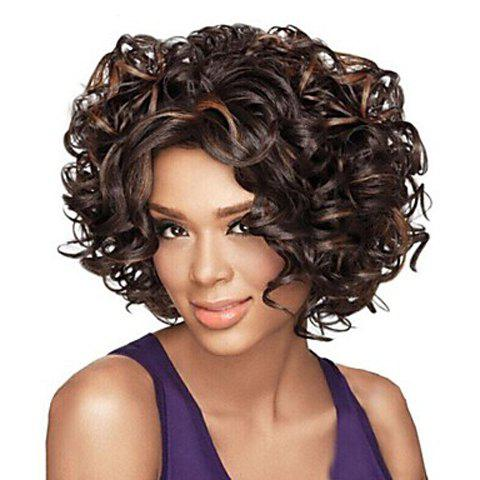 Image of Fashion Heat Resistant Soft Curly Mix Color Capless Synthetic Wig For Women