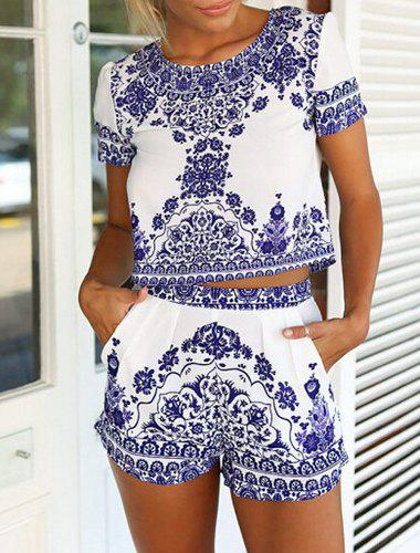 Affordable Vintage Scoop Neck Short Sleeve Blouse + Printed Shorts Women's Twinset