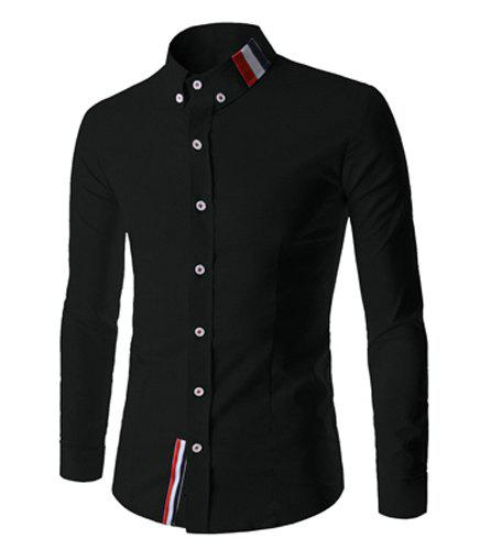 Fancy Stylish Shirt Collar Slimming Buttons Design Stripes Splicing Long Sleeve Polyester Shirt For Men