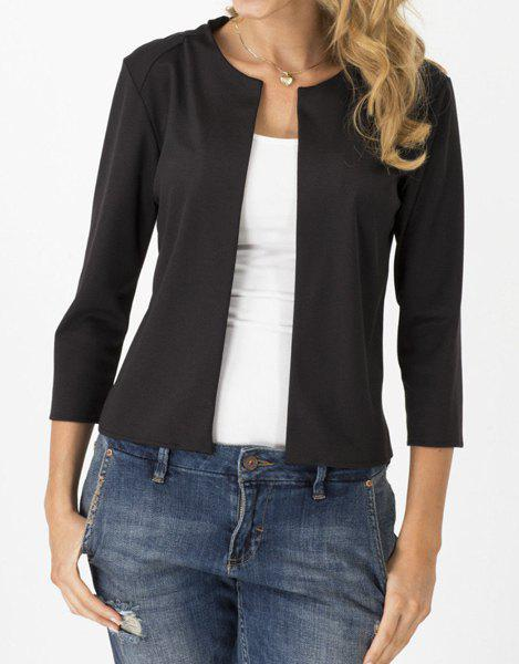 Brief Jewel Neck 3/4 Sleeves Solid Color Jacket For Women