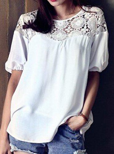 Online Stylish Round Neck Hollow Out Spliced Short Sleeve T-Shirt For Women