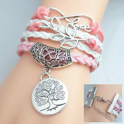 Leaf Letter Tree Pattern Weaved Layered Friendship BraceletJEWELRY<br><br>Color: COLORMIX; Item Type: Charm Bracelet; Gender: For Women; Chain Type: Leather Chain; Style: Trendy; Shape/Pattern: Floral,Letter,Plant; Weight: 0.040kg; Package Contents: 1 x Bracelet;
