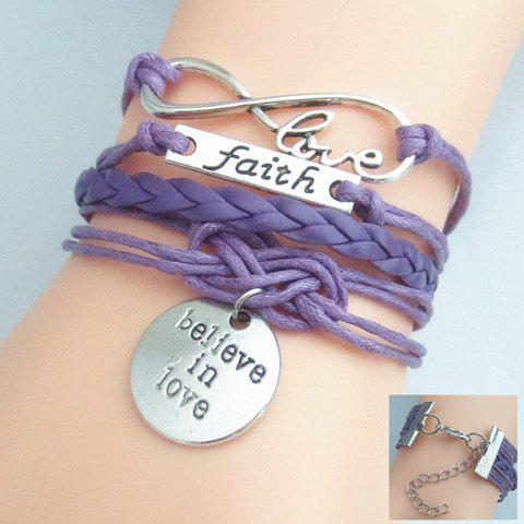 Infinity Engraved Layered Friendship BraceletJEWELRY<br><br>Size: 16CM +5.5CM; Color: PURPLE; Item Type: Strand Bracelet; Gender: For Women; Chain Type: Leather Chain; Style: Trendy; Shape/Pattern: Letter; Length: 21.5 cm; Weight: 0.040kg; Package Contents: 1 x Bracelet;