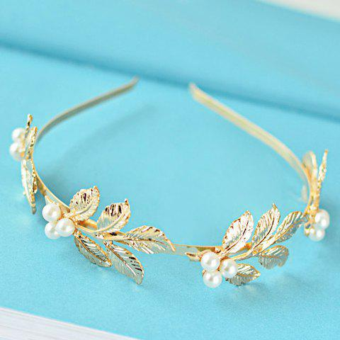 Sale Chic Faux Pearl Leaf Shape Design Hairband