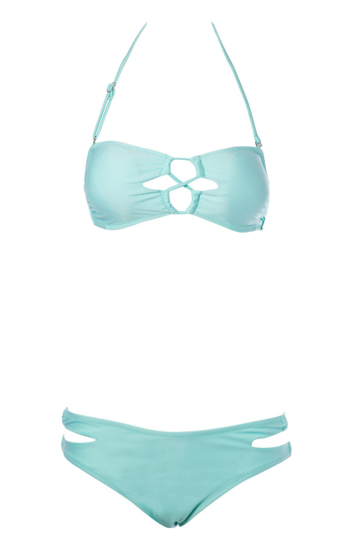 Outfit Sexy Strapless Solid Color Women's Bikini Set