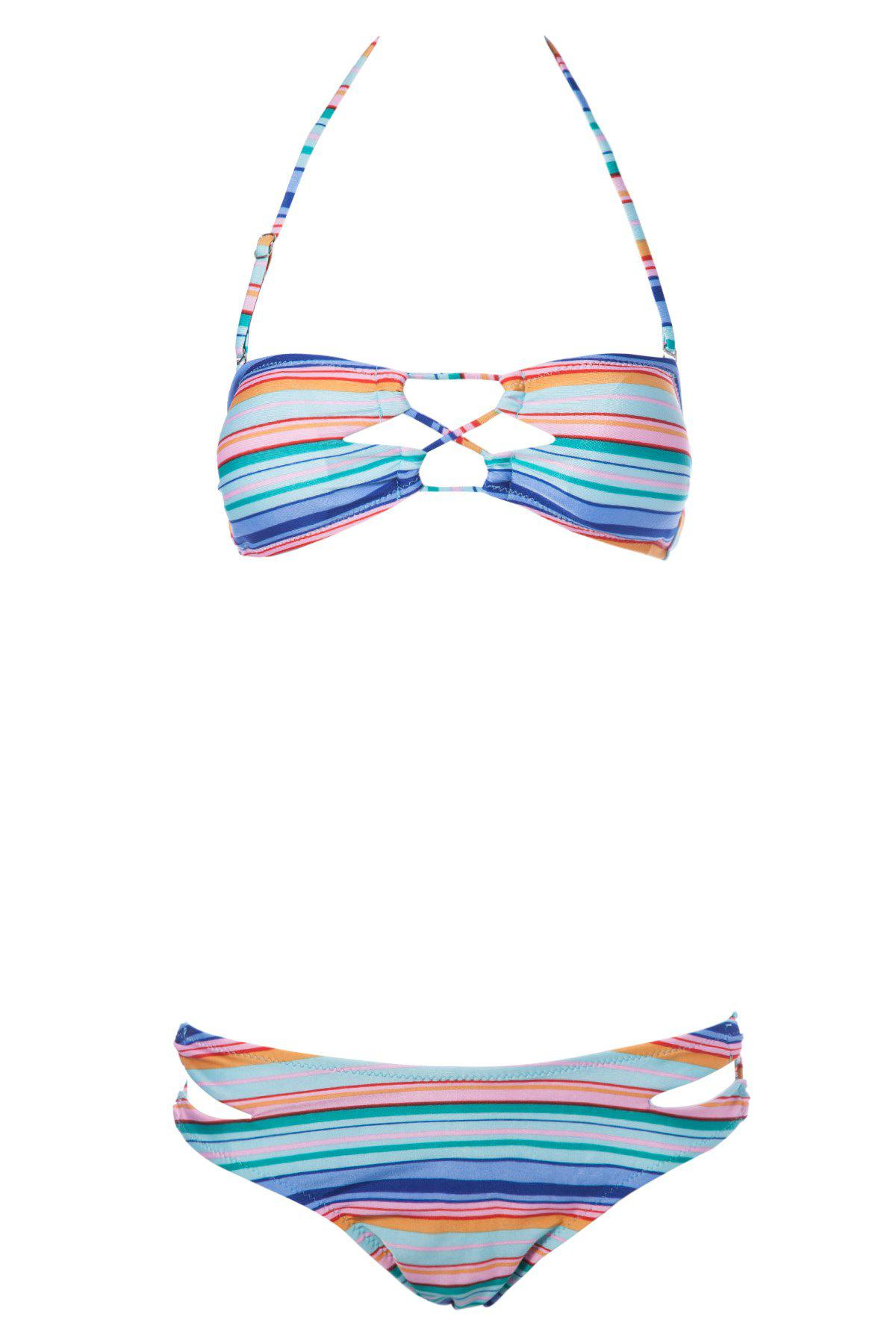 New Sexy Strapless Striped Women's Bikini Set
