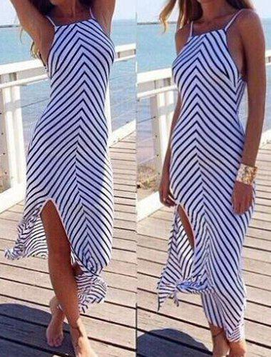 Latest Trendy Sleeveless Backless Striped Cover-Up For Women