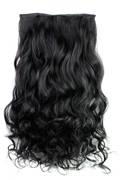 Fashion Jet Black Long Curly Clip-In Heat Resistant Synthetic Hair Extension For WomenHAIR<br><br>Hair Extension Type: Clip-In/On; Style: Curly; Fabric: Heat Resistant Synthetic Hair; Length: Long; Weight: 0.17KG; Package Contents: 1 x Hair Extension; Length Size(CM): 60;