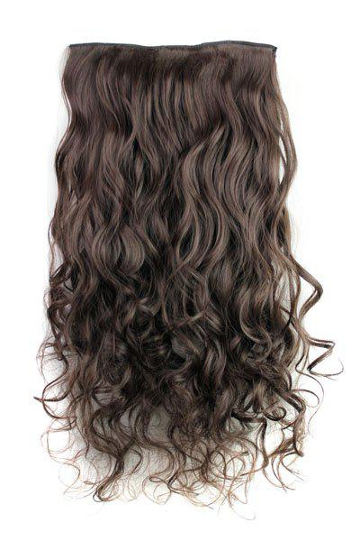Fashion Deep Brown Long Curly Clip-In Heat Resistant Synthetic Hair Extension For WomenHAIR<br><br>Color: DEEP BROWN; Hair Extension Type: Clip-In/On; Style: Curly; Fabric: Heat Resistant Synthetic Hair; Length: Long; Weight: 0.170kg; Package Contents: 1 x Hair Extension; Length Size(CM): 60;