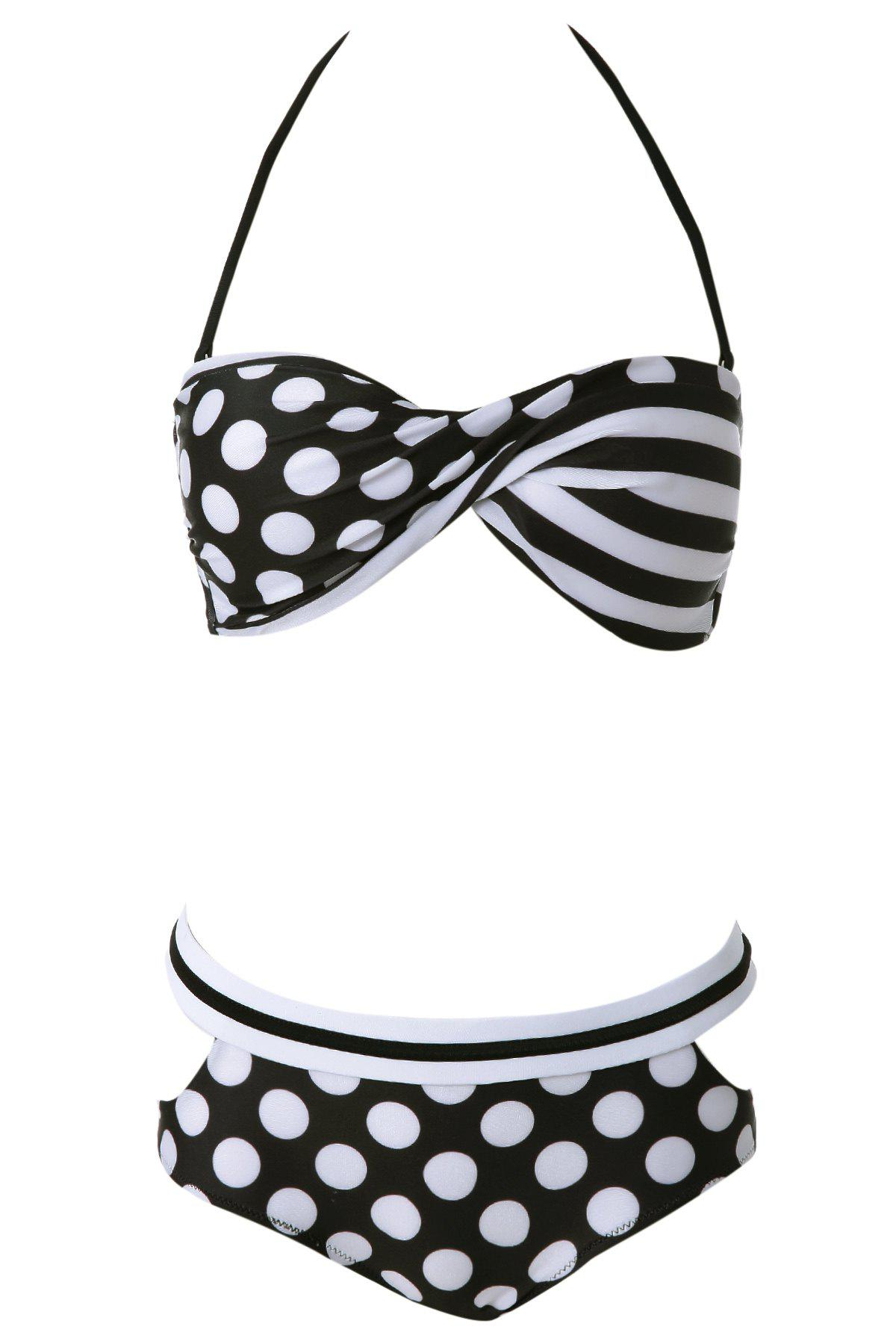 Outfits Sexy Halter Polka Dot Lace-Up Women's Bikini Set