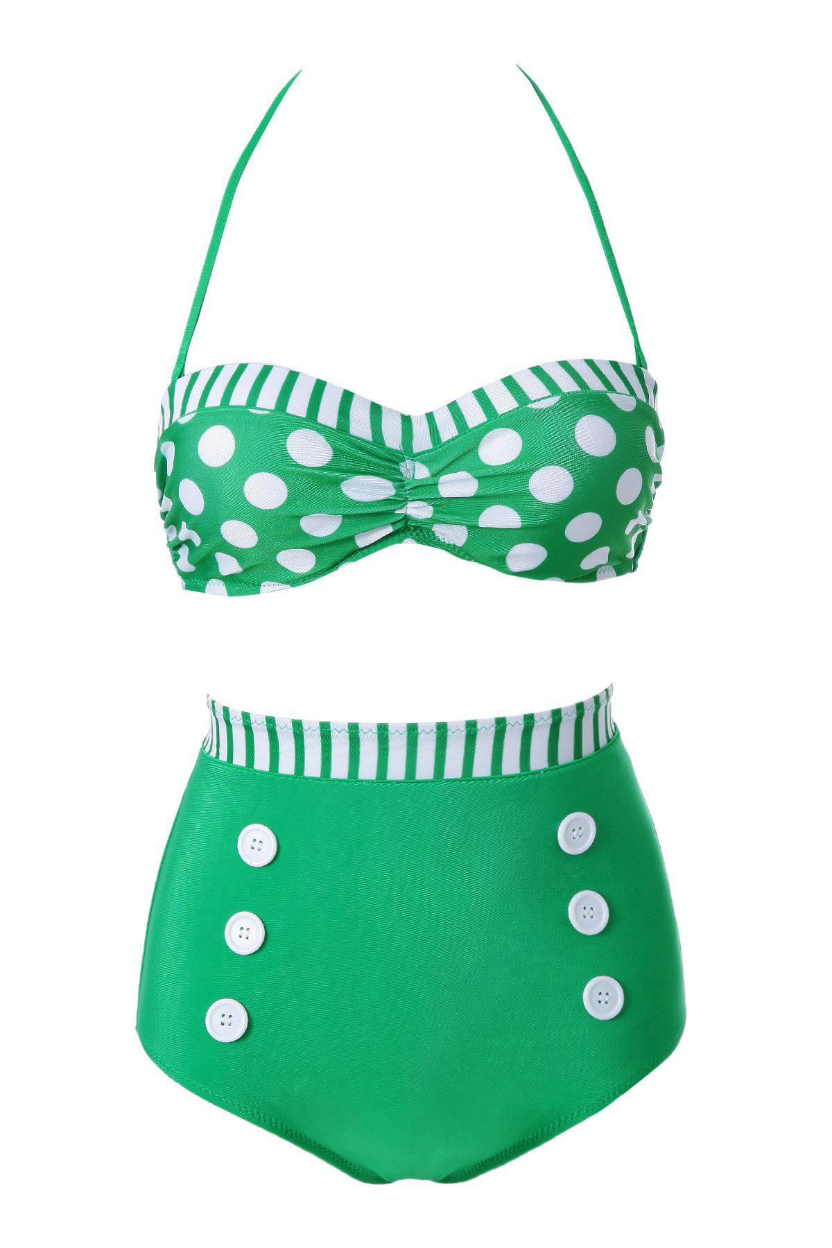 Buy Fashionable Polka Dot Stripe Color Block Bikini Set For Women