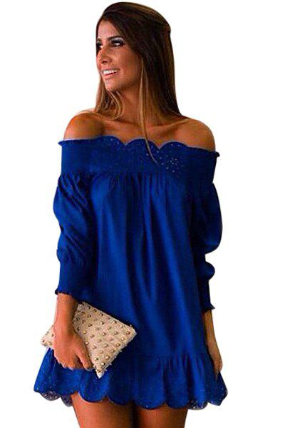 Latest Sexy Style Slash Neck Solid Color Openwork Ruffle Long Sleeve Dress For Women