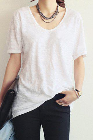 Discount Casual Style V-Neck Short Sleeve Solid Color Loose-Fitting Women's T-Shirt