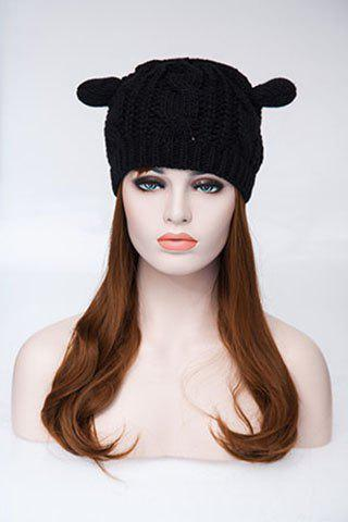 Buy Knitted Hemp Flowers Cat Ears Acrylic Hat