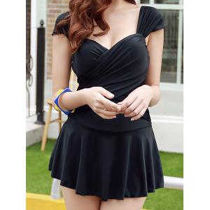 Stylish Sweetheart Neckline Solid Color Ruffled One-Piece Swimsuit For Women