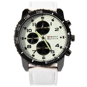 Jubaoli Leather Band Male Quartz Watch with Rotatable Bezel Decorative Sub-dials -