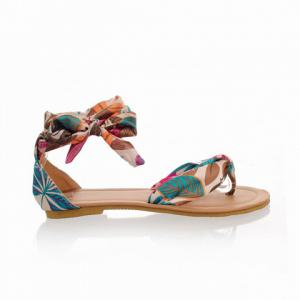 National Style Satin and Floral Print Design Women's Sandals - BLUE 39