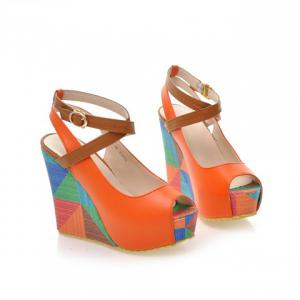 Trendy Color Block and Wedge Heel Design Women's Sandals -