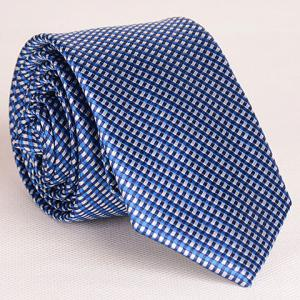 Noble Style Full Tiny Blue Grid Pattern Neck Tie For Men