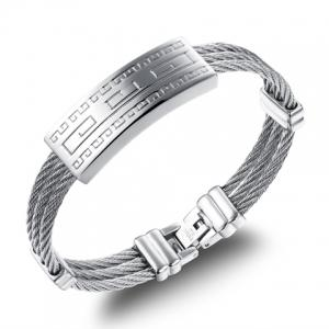 Fret Printed Cable Shape Layered Bracelet