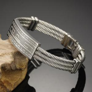 Fret Printed Cable Shape Layered Bracelet - SILVER