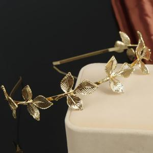Chic Retro Style Leaf Shape Women's Hairband - Golden