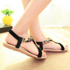 Sweet Weaving and Rhinestones Design Women's Sandals -