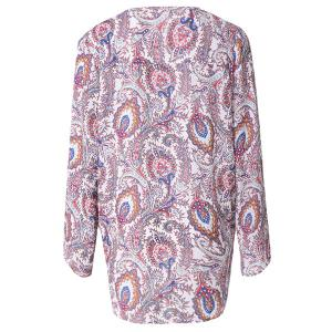 Stylish Plunging Neck Long Sleeve Printed Chiffon Women's Blouse -