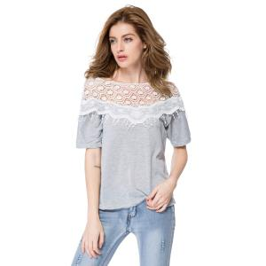 Lace Cutout Shirt Women Handmade Crochet Cape Collar Batwing Sleeve T-Shirt - Gray - S