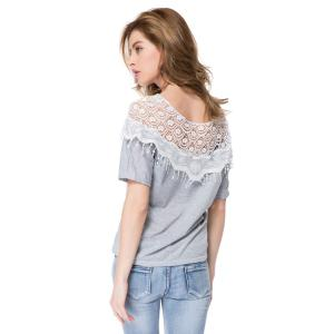 Lace Cutout Shirt Women Handmade Crochet Cape Collar Batwing Sleeve T-Shirt - GRAY M