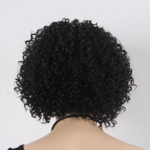 Europe Style Heat Resistant Synthetic Fashion Women's Black Short Kinky Curly Afro Wig - BLACK