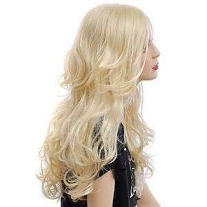 Fashion Fluffy Long Big Curly Heat-Resistant Glonde Blonde Capless Women's Synthetic Hair Wig - GOLDEN