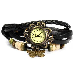 Womage 695 Retro Style Weave Wrap around Leather Bracelet Lady Butterfly Quartz Watch -
