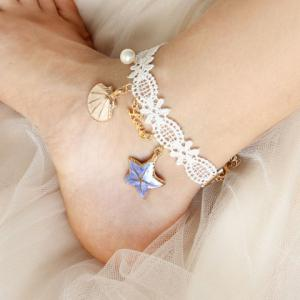 Lace Shell Starfish Beach Anklets - WHITE
