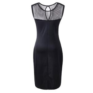Stylish Round Neck Sleeveless Openwork Spliced Women's Dress -