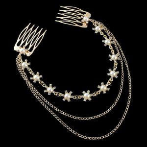 Chic Faux Pearl Rhinestone Floral Hair Comb For Women -