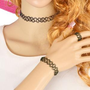 Simple Hollow Out Black Necklace and Ring and Bracelet For Women