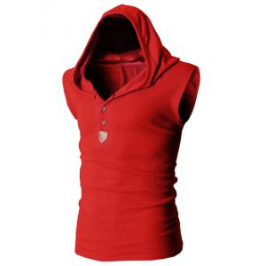 Fashion Hooded Slimming Solid Color Button Design Sleeveless Polyester Tank Top For Men - RED XL