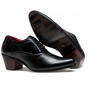 Trendy Stone Pattern and Black Design Men's Formals Shoes - BLACK 43