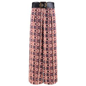 Vintage High-Waisted Printed Wide Leg Women's Pants -