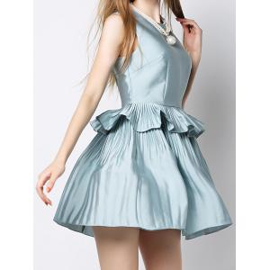 Vintage Round Neck Sleeveless Flounced Solid Color Women's Dress -