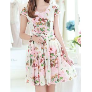 Vintage V-Neck Short Sleeve Butterfly Print Chiffon Women's Dress -