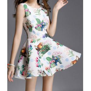 Vintage Style Scoop Collar Sleeveless Printed Women's Dress -